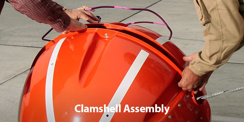 Power line marker clamshell assembly