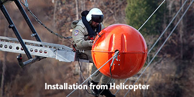FireFly HW Bird Diverter Helicopter Installation