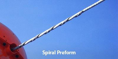 Power line marker spiral preform attachment